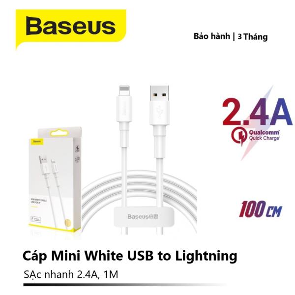 Cáp dây sạc nhanh và truyền dữ liệu Baseus Mini White Cable USB For Lightning (2.4A)/Micro USB (2.4A)/Type C (3A), chiều dài 1m, truyền dữ liệu tốc độ cao 480Mbps 2.4A, dây siêu bền
