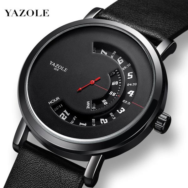 [HCM]Đồng hồ nam Yazole 509 510 518 519 dây da sang trọng kim chạy dọc bán chạy