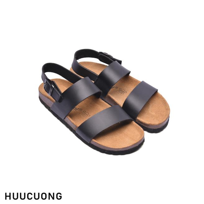 Sandal HuuCuong 2 quai đen đế trấu giá rẻ
