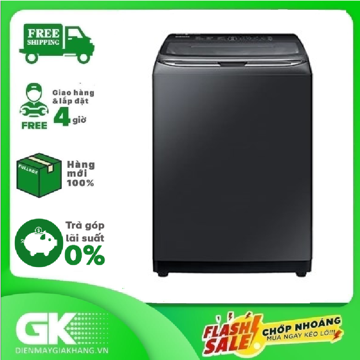 [Trả góp 0%]Máy giặt Samsung Inverter 22 kg WA22R8870GV/SV
