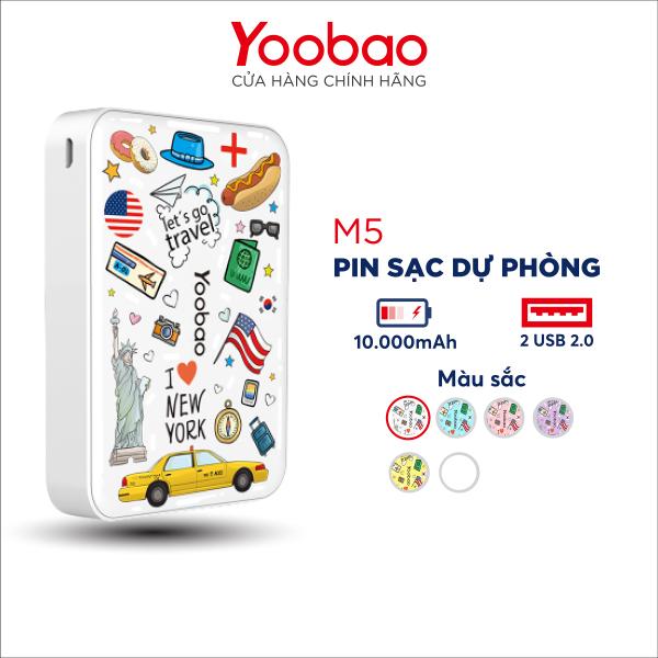 Sạc dự phòng 10000mAh Yoobao M5C Phiên bản I LOVE NEW YORK - Hàng phân phối chính hãng - Bảo hành 12 tháng 1 đổi 1