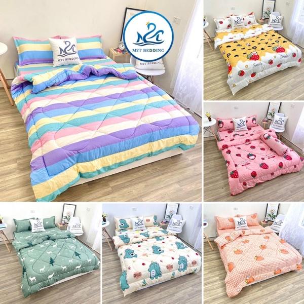 Bộ chăn ga gối Cotton poly M2T Bedding - chăn hè chần bông - họa tiết drap mền đáng yêu