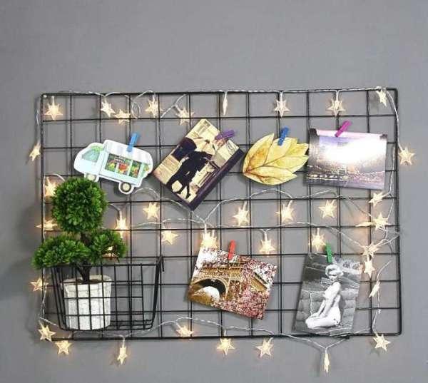 Khung treo tranh ảnh trang trí sinh nhật, decor phòng khách, Tấm lưới thép trang trí nhà cửa - Tặng kèm 2 đính 4 chân