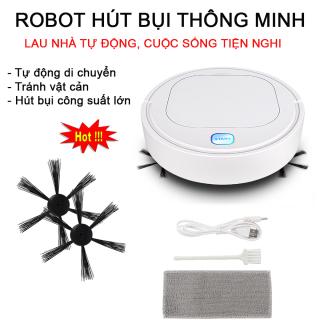 Robot Hút Bụi Lau Nhà, Robot Quét Nhà, Robot Hút Bụi.Robot hút bụi thông minh 3 in 1 - Quét, Hút, Lau, Làm Sạch Các Vị Trí Khó Như Gầm Giường, Tủ Và Ghế Sofa, Thời Gian Sử Dụng Lâu, Máy Vận Hành Êm Không Ồn thumbnail