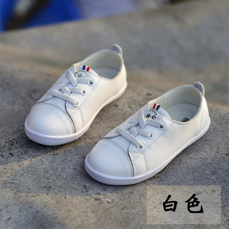 Giá bán Giày Trẻ Em Da Thật Da Bò Cô Gái Giày Đế Bằng Kiểu Hàn Quốc Giày Trắng Form Nhỏ Bé Trai Thường 2019 Mẫu Mới Kiểu Mùa Thu Giày Da Mềm Thủy Triều