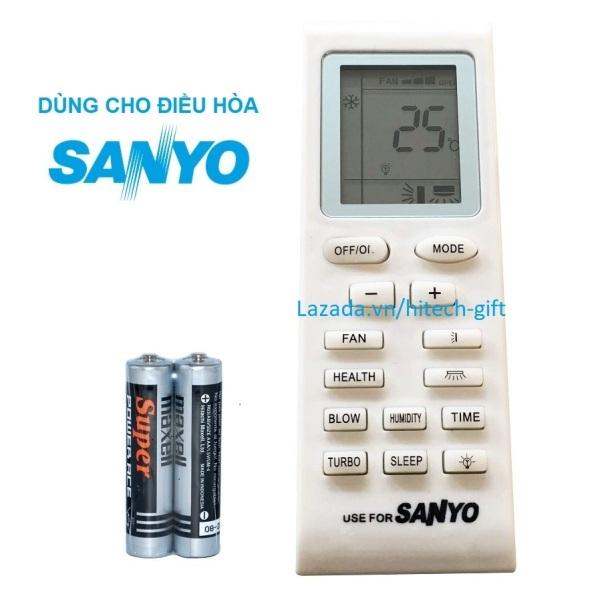 Remote Điều Khiển Máy Lạnh, Máy Điều Hòa Không Khí Sanyo SAP-K9AP (Kèm Pin AAA Maxell)