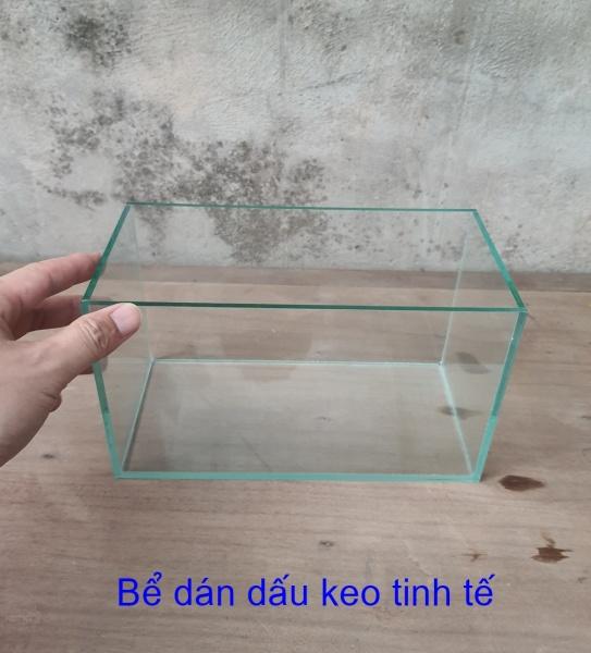 Bể cá mini dài 24 cm, rộng 12 cm, cao 14 cm, dày 4mm, Thiết kế đẹp mắt, mẫu không dán băng đen