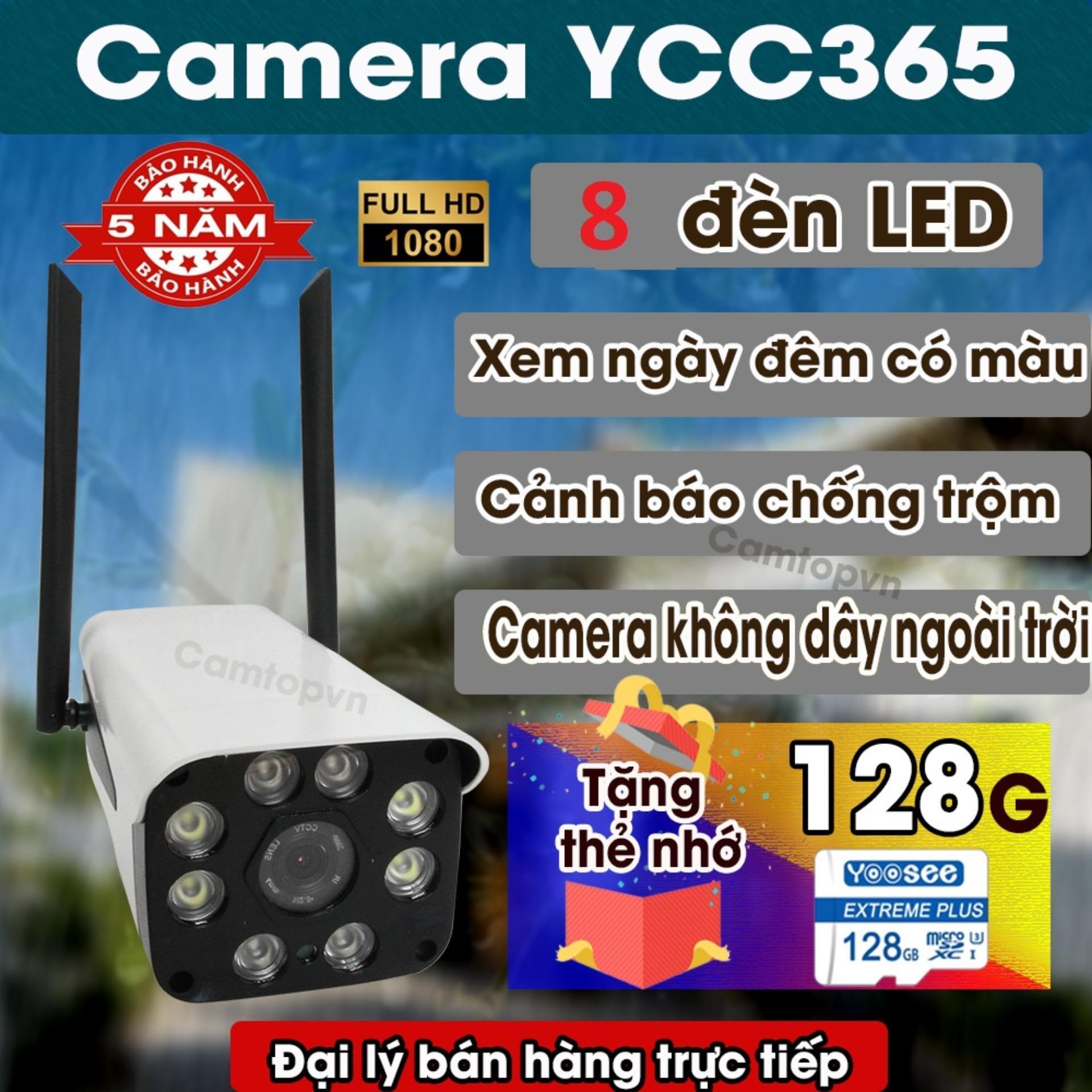 [TUỲ CHỌN COMBO THẺ 128GB CHÍNH HÃNG] Camera  ip wifi giám sát ngoài trời  3.0MP - Bộ 8 đèn led - Xem đêm có màu -  Kết nối không dây - Báo động chống trộm - Bảo hành 5 năm