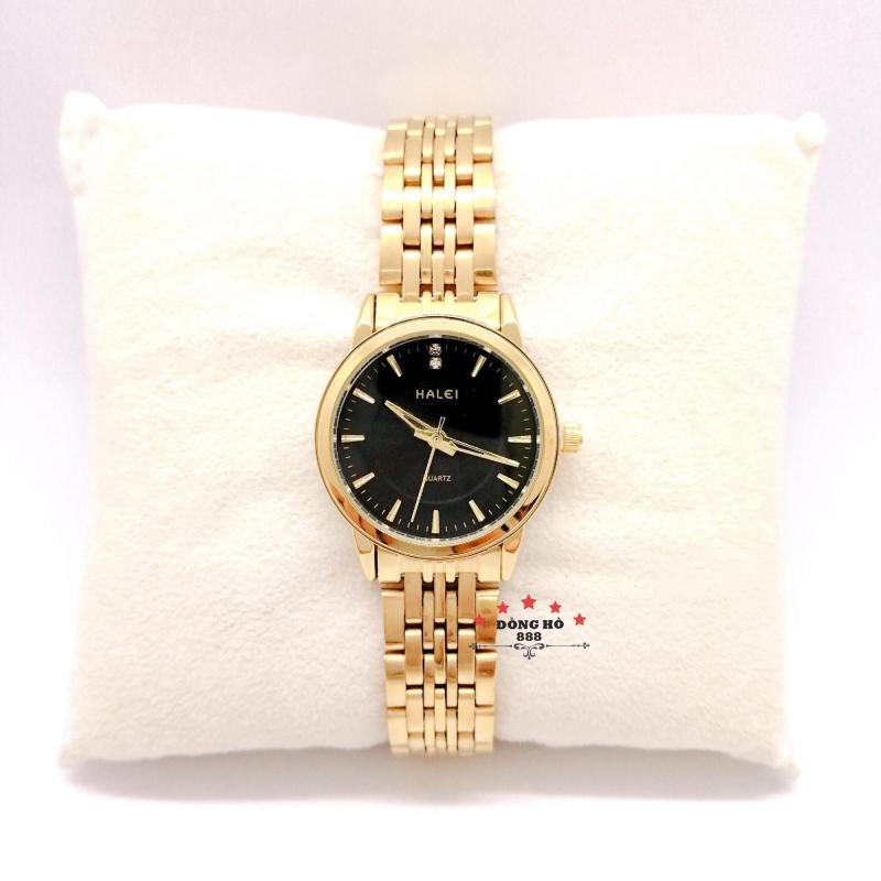 Đồng hồ nữ HALEI dây kim loại thời thượng ( HL552 dây vàng mặt đen ) - TẶNG 1 vòng tỳ hưu phong thuỷ
