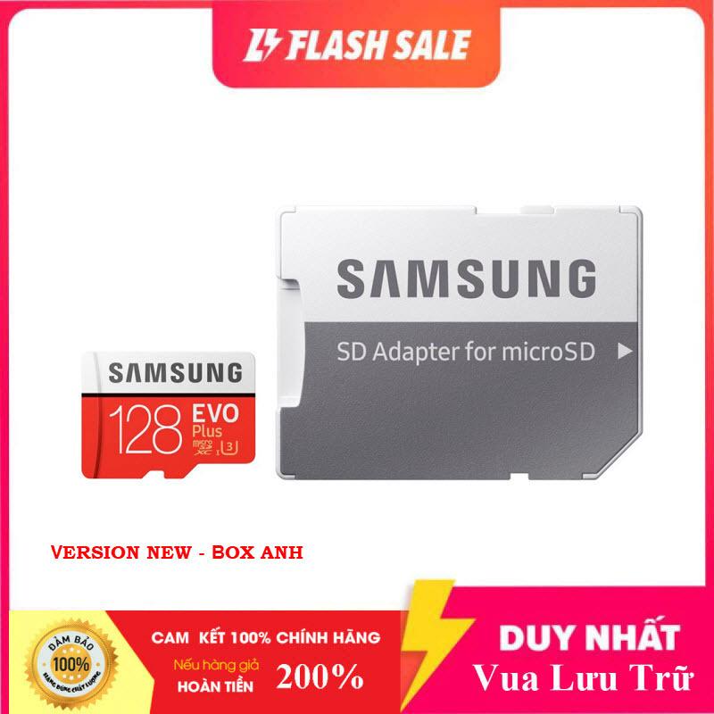 [New 2021]  Thẻ nhớ MicroSDXC Samsung Evo Plus 128GB U3 4K R100MB/s W60MB/s - box Anh New 2020 (Đỏ) + Kèm Adapter