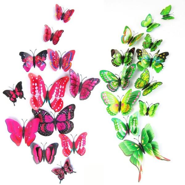 Bộ 12 bướm 3D dán tường, có nam châm gắn tủ lạnh