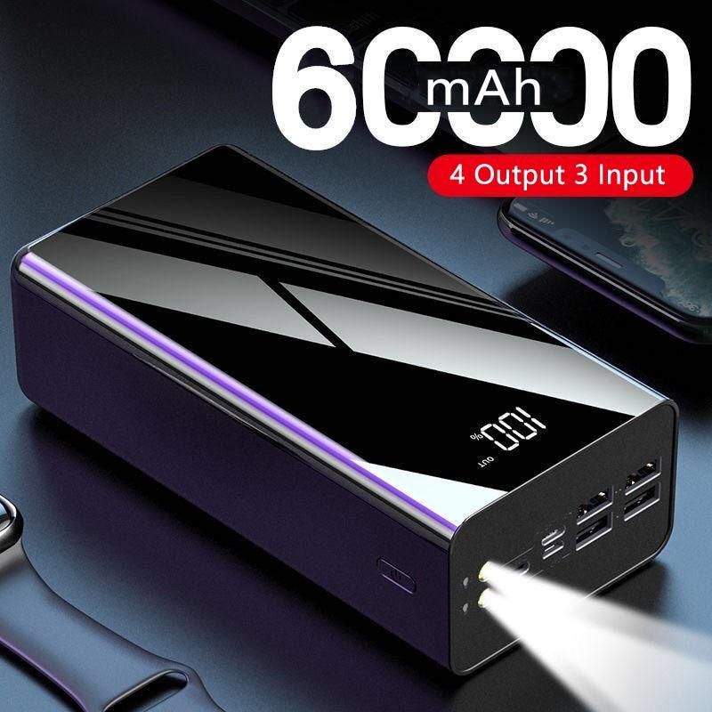 Dung Lượng Cao Powerbank50000mAh 60000MAh, Dành Cho iPhone 11 Xiaomi Bộ Pin Dự Phòng Ngoài Bộ Sạc Di Động Poverbank Có Đèn LED