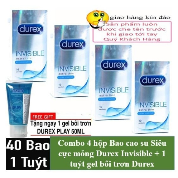 COMBO 4 HỘP DUREX INVISIBLE EXTRA THIN CỘNG THÊM GEL PLAY 50 ML