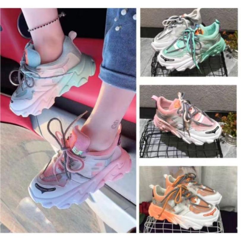 Giày thể thao nữ , giày nữ , giày sneaker nữ gót màu 2 dây cao cấp , độn đế hàng hot 2020 giá rẻ