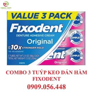 Combo 3 tuýp Keo dán hàm răng giả hàm tháo lắp Fixodent 68g hàng chính hãng Fixodent Denture Adhesive thumbnail