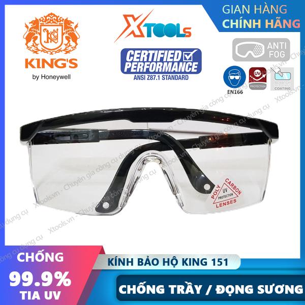 Giá bán Kính bảo hộ lao động Kings Ky151 - Mắt kính chống bụi, chống tia UV chống trầy xước, đọng hơi sương (màu trắng trong) [XTOOLs][XSAFE]
