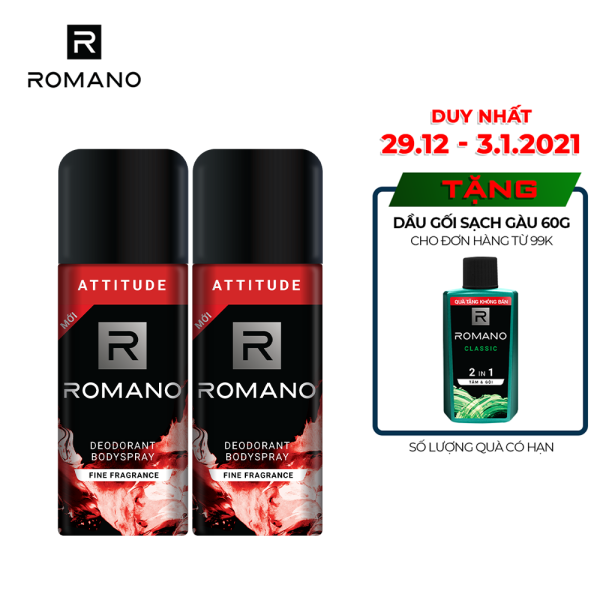 [Follow shop - 10k] Combo 2 Xịt toàn thân Romano Attitude nồng ấm cá tính 150ml nhập khẩu