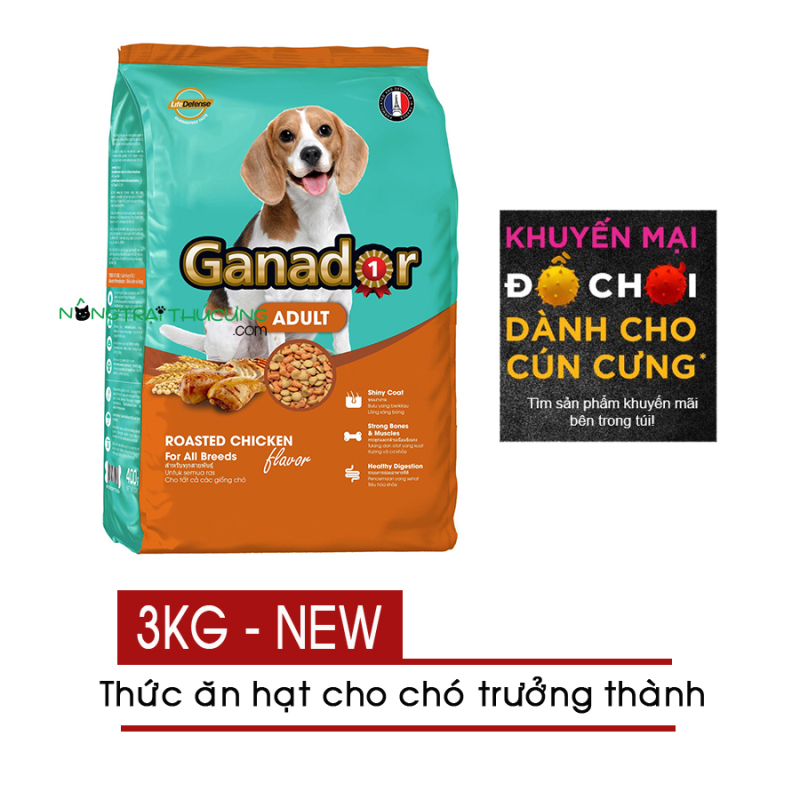 Thức ăn hạt cho Chó Lớn Ganador Adult vị Gà Nướng (NEW) 3KG - [Nông Trại Thú Cưng]