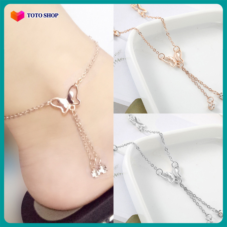 [HCM]Lắc chân nữ rua trang trí kiểu dáng thời trang họa tiết cánh bướm phong cách Hàn Quốc phong cách quý phái BSTVT - [ToTo Shop]