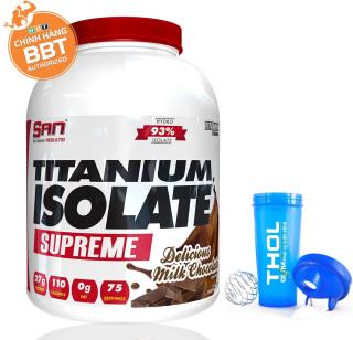 Sữa Tăng Cơ - S.A.N Titanium Whey Isolate Supreme - Protein thuỷ phân tinh khiết hỗ trợ hấp thu nhanh - 76 Lần dùng - 2.273kg - tặng kèm bình lắc 700ml cao cấp thumbnail