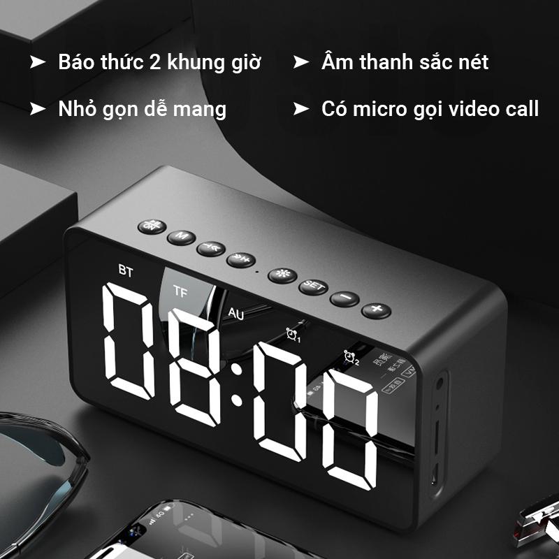 [Nhập ELMAY21 giảm 10% tối đa 200k đơn từ 99k] Loa bluetooth kèm đồng hồ Cát Thái BT506 âm bass trầm ấm dung lượng pin lớn 1600mAh nghe nhạc bằng thẻ nhớ TF AUX 3.5mm cài đặt 2 khung giờ báo thức có micro gọi