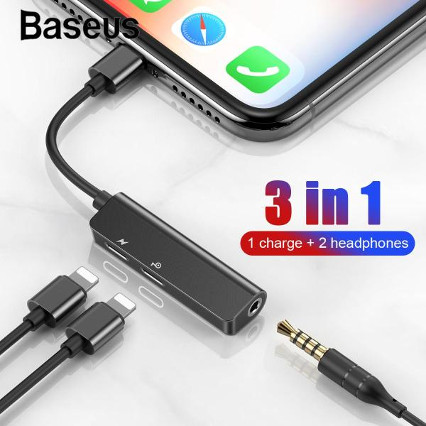 Bảng giá Bộ chuyển đổi cổng ÂM THANH Lightning sang 2 Lightning + Audio 3.5mm Baseus L52 cho iPhone - Vừa sạc vừa nghe và đàm thoại nhạc Phong Vũ