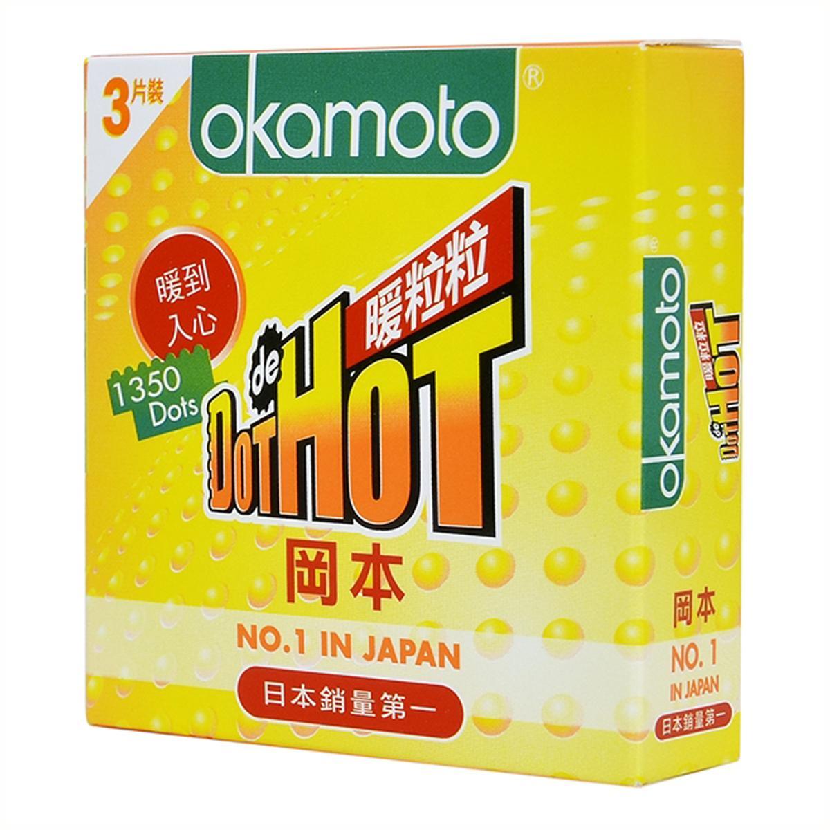 [Hộp 3 chiếc] Bao Cao Su Cao Cấp Nhật Bản Okamoto Dot De Hot Gai Nóng Truyền Nhiệt Nhanh - Bigbullshop