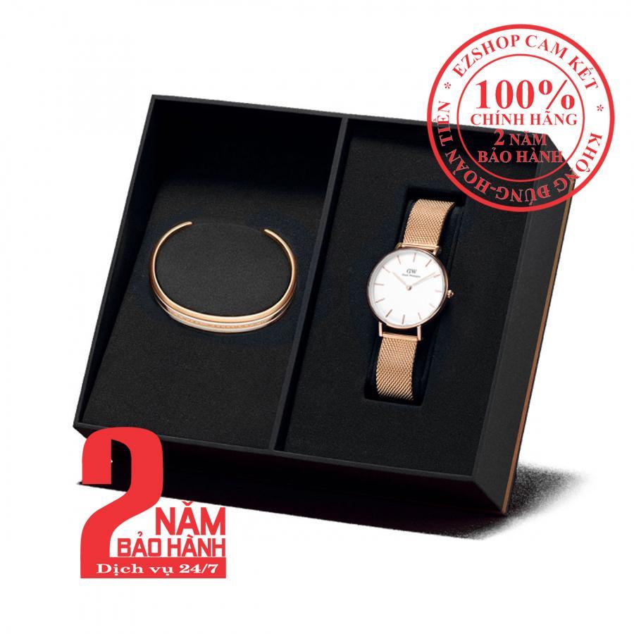 Nơi bán [mẫu mới] Hộp quà đồng hồ nữ Daniel Wellington Petite Melrose 32mm + Vòng tay DW Bracelet- màu vàng hồng (Rose Gold), mặt trắng - DW00500332