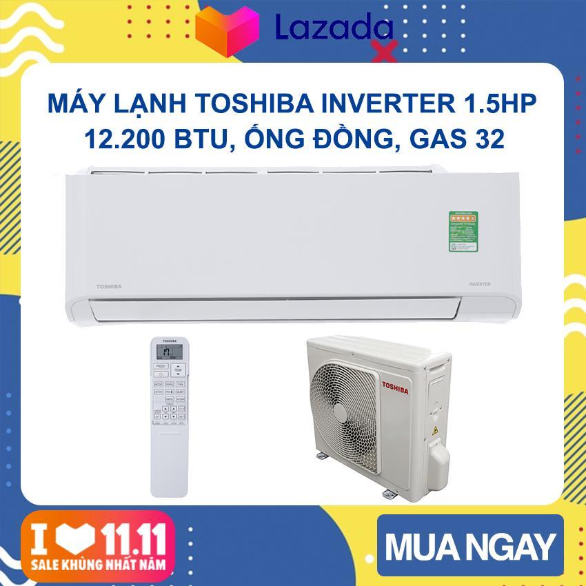 Bảng giá Máy lạnh Toshiba Inverter 1.5 HP RAS-H13PKCVG-V (Trắng)  Phạm vi làm lạnh dưới 15m2, Công suất tiêu thụ 1.1kW/h