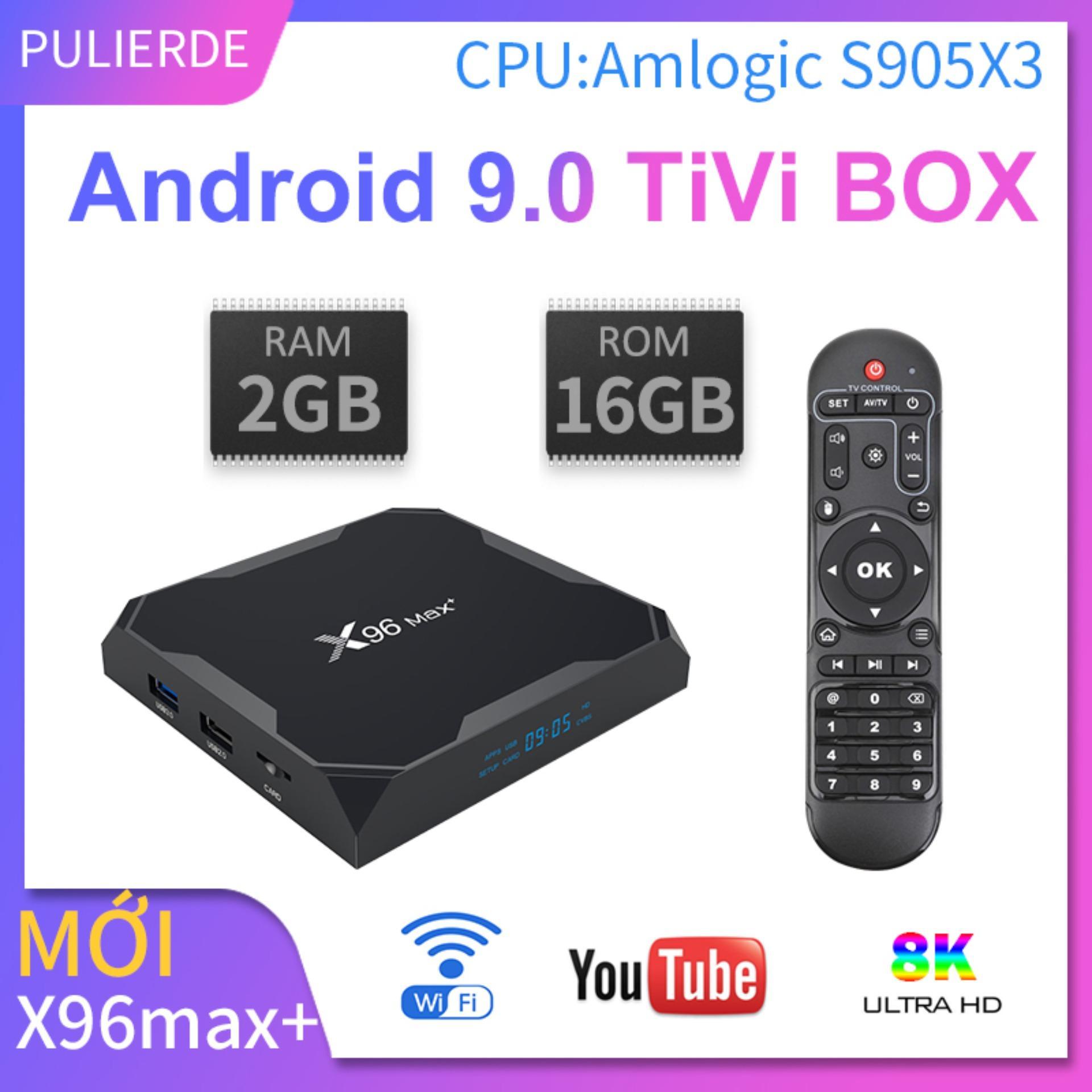 Sản Phẩm Mới X96max+ Amlogic S905x3 Tivi Box Android 9.0 2GB Ram 16GB Rom Hộp Tivi Thông Minh Trình Phát Phương Tiện Thông Minh 2.4G Wifi Hỗ Trợ 8K Giá Tiết Kiệm Nhất Thị Trường