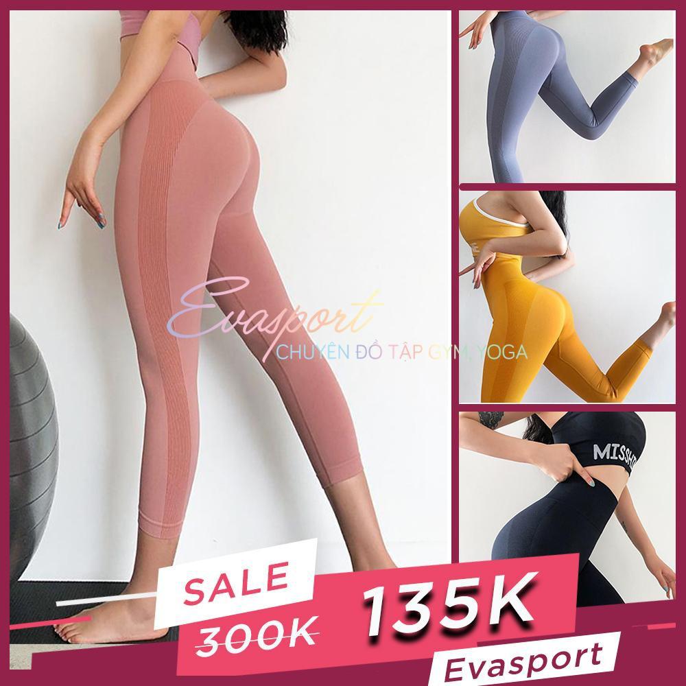 Quần Lửng Tập Gym Nữ Cap Cao Tập Yoga Thể Thao Aerobic Nữ Legging MISSHINE Vải Dệt Kim Co Giãn Tốt Dài Lửng Mặc Ôm Dáng, Nâng Mông, Tôn Vòng 3