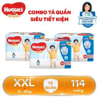 [Freeship 20K đơn 300K] COMBO SIÊU TIẾT KIỆM Bộ 3 Gói Tã Bỉm quần HUGGIES Dry Big Jumbo XXL38 (Trên 14kg) - Gói 38 miếng thumbnail