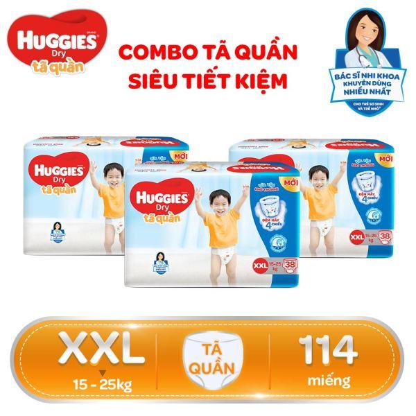 COMBO SIÊU TIẾT KIỆM Bộ 3 Gói Tã/Bỉm quần HUGGIES Dry Big Jumbo XXL38 (Trên 14kg) - Gói 38 miếng