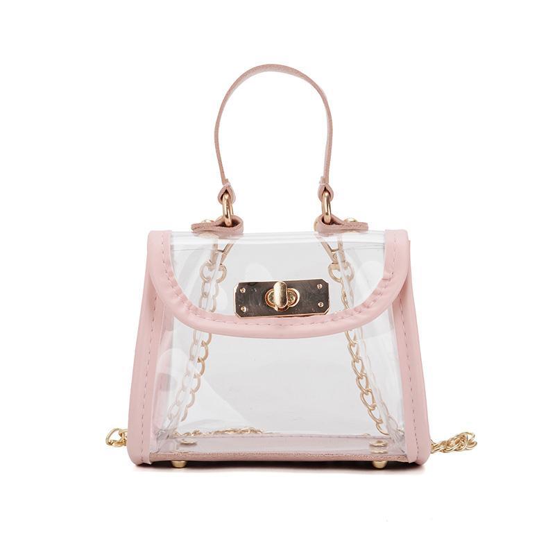 Giá bán Korean ChildrenS Bag Spring And Summer New Shoulder Bag Hit Color Transparent Tide Girls Baby Messenger Bag Pink