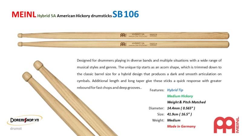 MEINL Hybrid 5A American Hickory drumsticks SB106
