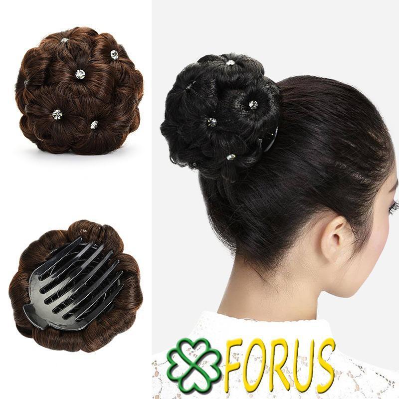 Tóc búi hoa đính đá, màu [nâu đen 4#] nhập khẩu