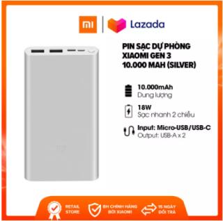 Pin Sạc Dự Phòng Xiaomi Gen 3 với dung lượng 10000 mah 2 đầu ra. Hỗ trợ sạc nhanh 18W. Sạc nhanh 2 chiều. Thiết kế nhôm nguyên khối. Đạt tiêu chuẩn an toàn khi mang lên máy bay. Hàng chính hãng. BH 12 Tháng thumbnail