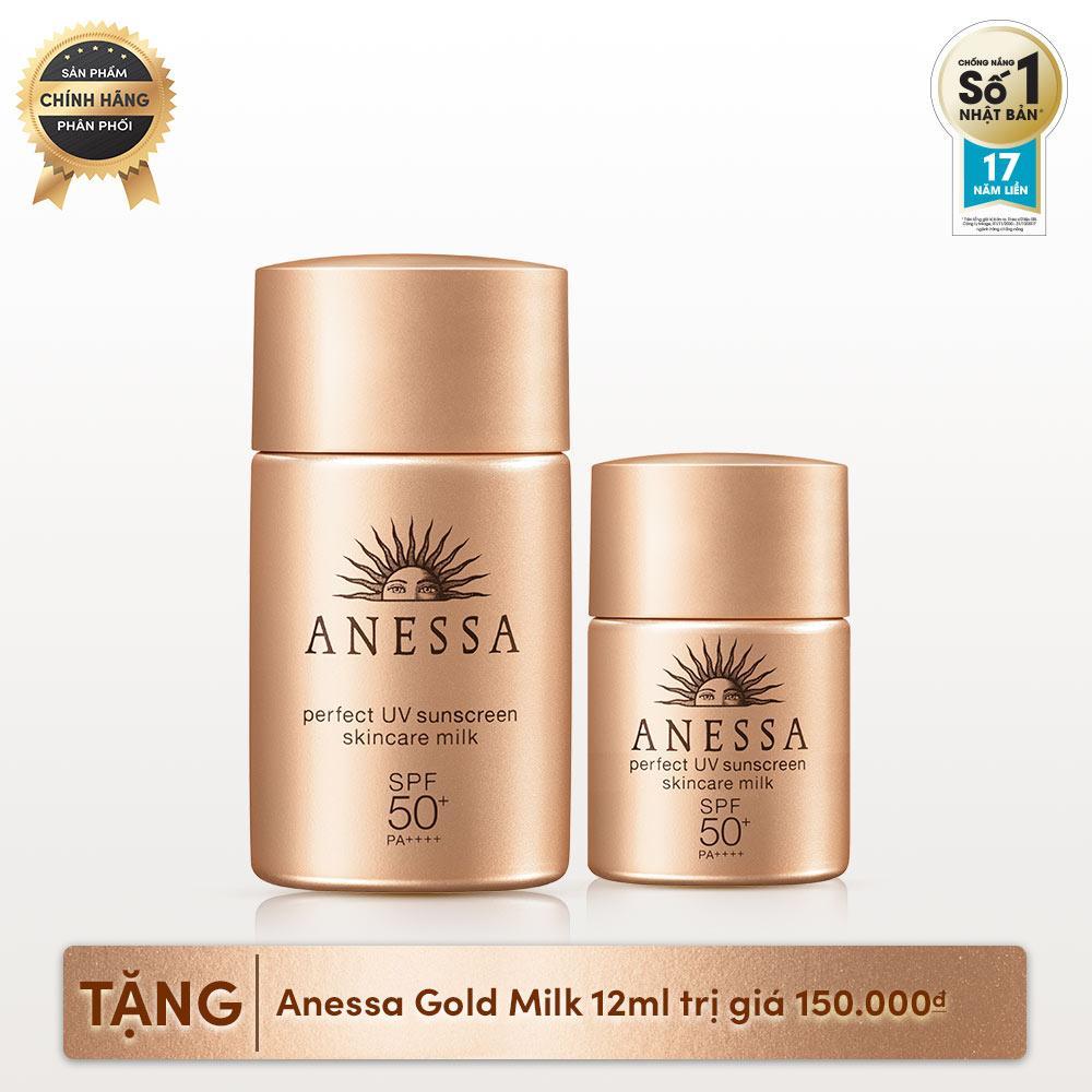 Bộ đôi sữa chống nắng toàn diện Anessa (Anessa Perfect UV Sunscreen Skincare Milk - SPF 50+, PA++++ - 20ml + Anessa Perfect UV Sunscreen Skincare Milk 12ml) chính hãng