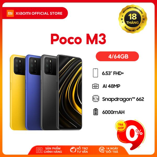 [XIAOMI OFFICIAL] Điện thoại POCO M3 4GB/64GB - Chip Snapdragon 662, Màn hình 6.53, Pin 6,000mAH, Sạc nhanh 18W, Camera sau 48MP, Android 10, MIUI 12 - BH Chính hãng 18 tháng
