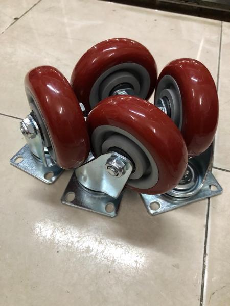 Bộ 2 bánh xoay 360 độ PU nâu siêu bền (100x32)
