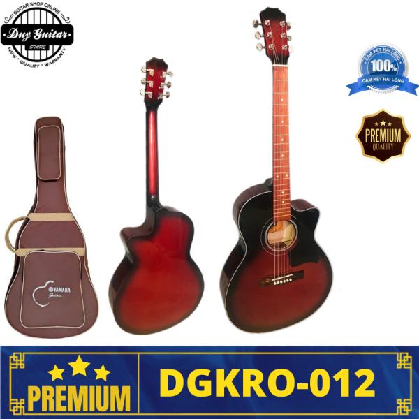 Đàn guitar acoustic màu đỏ dáng A khuyết DGKRO-012 Red sunburst Duy Guitar Store Dòng đàn ghitar có âm thanh tốt giá rẻ dành cho bạn mới tập