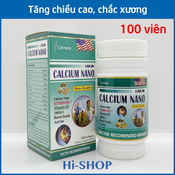 Viên uống Canxi tăng chiều cao, chắc khỏe xương, giảm loãng xương Liquid Calcium Nano - Hộp 100 viên dùng cho trẻ em trên 6 tuổi, người lớn, bà bầu
