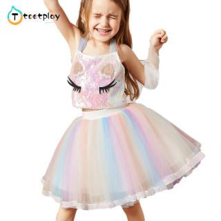 Tootplay 2 Cái/bộ Cô Gái Động Vật Áo Sequined + Đầy Màu Sắc LƯỚI VÁY Bộ Quần Áo Thời Trang Pha Cotton Dành Cho Trẻ Từ 3-8 Tuổi