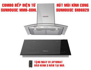 Combo Bếp từ đôi Sunhouse mama MMB-88HL + Máy hút mùi kính cong Sunhouse SHB6629
