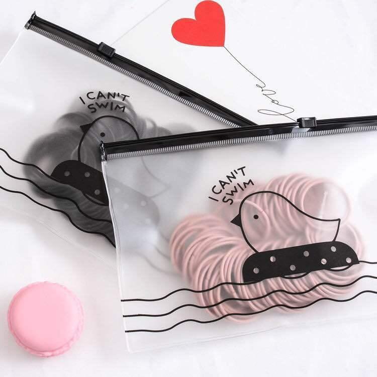 Giá bán Set cột 100 dây cột tóc trơn đơn giản, tiện lợi - có túi đi kèm dễ thương