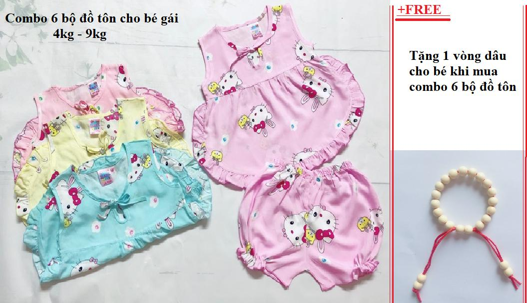 Combo 6 bộ đồ tôn (tole -lanh) bé gái 4kg - 9kg - Tặng 1 vòng dâu cho bé (Không áp dụng khi shop chạy CT flashsale)