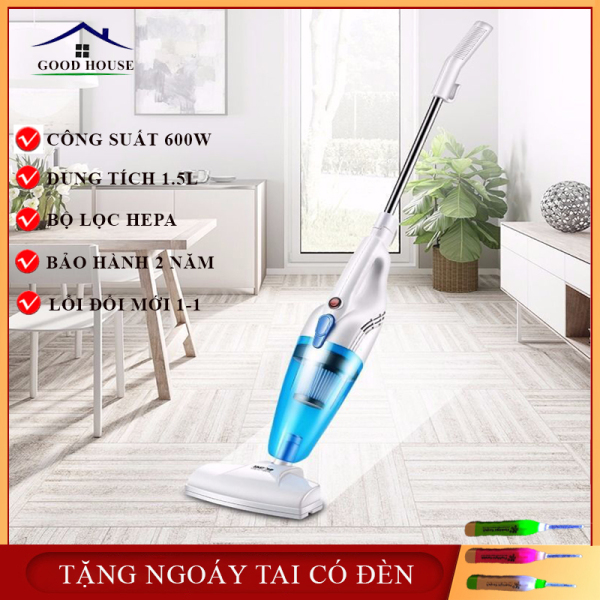 Máy hút bụi cầm tay đa năng công suất 600W- Thiết kế dáng đứng dễ dàng len lỏi từng ngóc ngách trong nhà giúp lau dọn sạch sẽ và hiệu quả