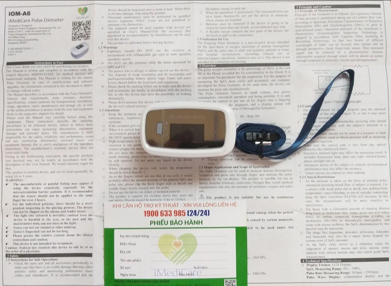 Máy đo nồng độ bão hòa Oxy trong máu (SPO2) và nhịp tim iMediCare iOM-A6, Singapore