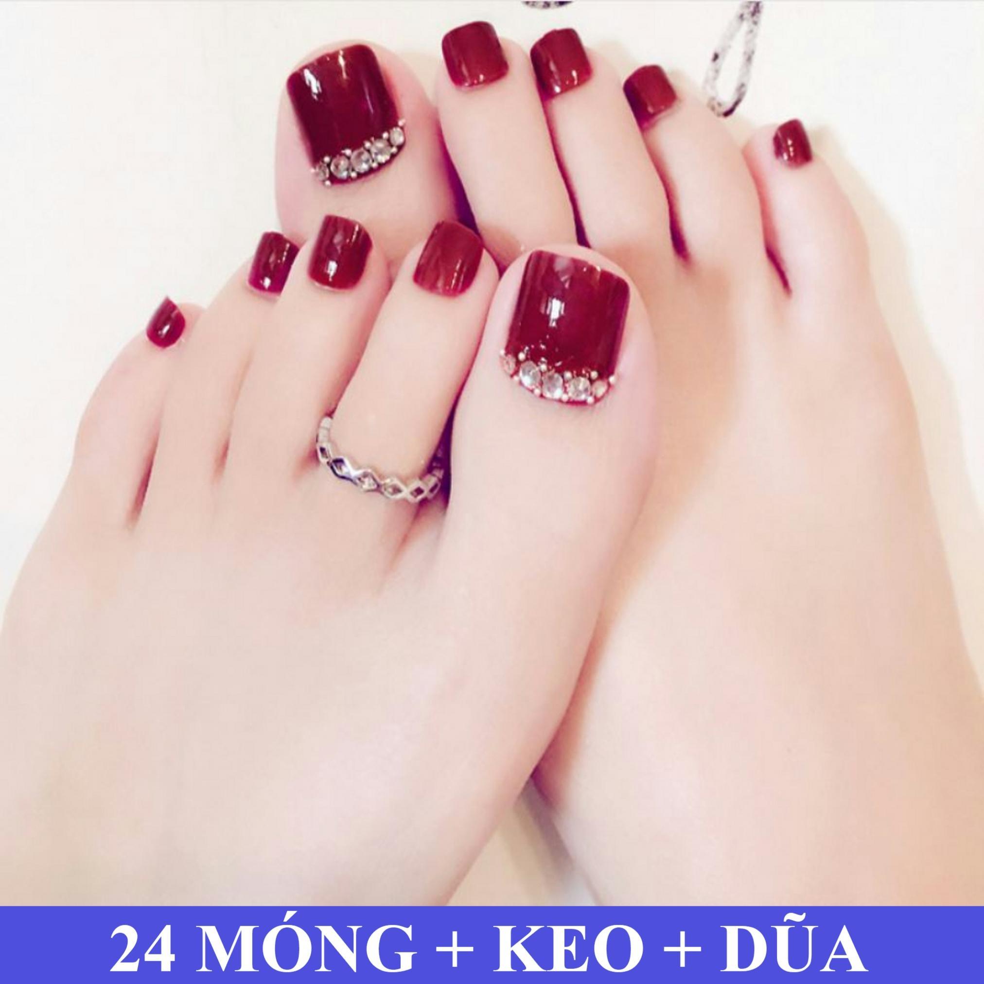 Bộ 24 Móng chân giả Đính Đá Bán Nguyệt Đẹp (kèm dũa+keo dán)