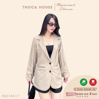 Áo khoác vest nữ blazer 2 lớp túi nấp THOCA HOUSE chuẩn form chuyên nghiệp, hàng thiết kế thumbnail